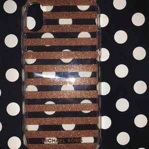 Glitter striped Michael Kors iPhone XS case!